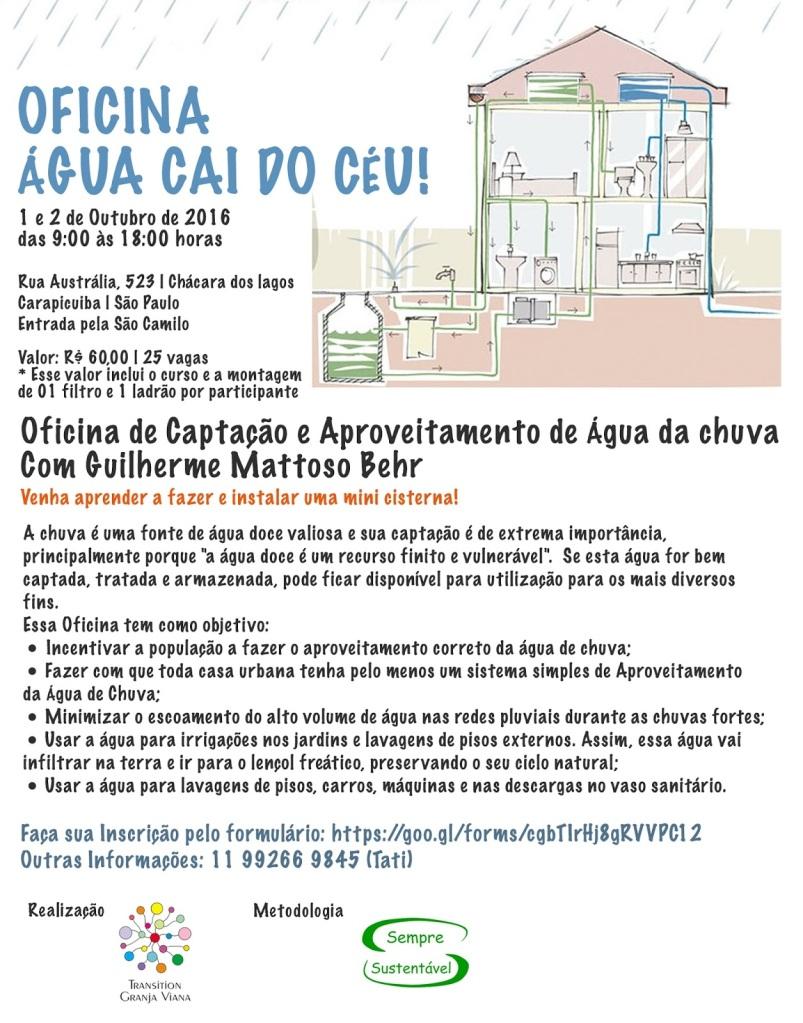 Cartaz curso de captação de água de chuva da granja viana 2016